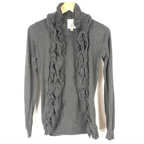 Prince of Thieves Sweaters - Gray Ruffle Front Cardigan Sweater Small